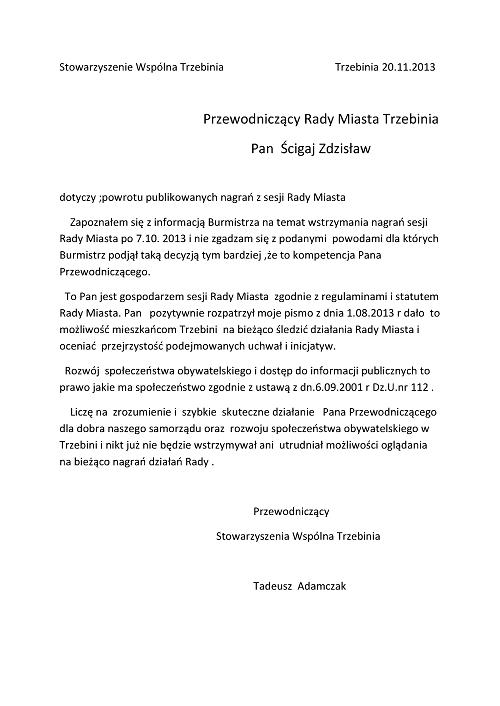 Pismo do Przewodniczącego RM ws. przywrócenia nagrań sesji, 20.11.20131
