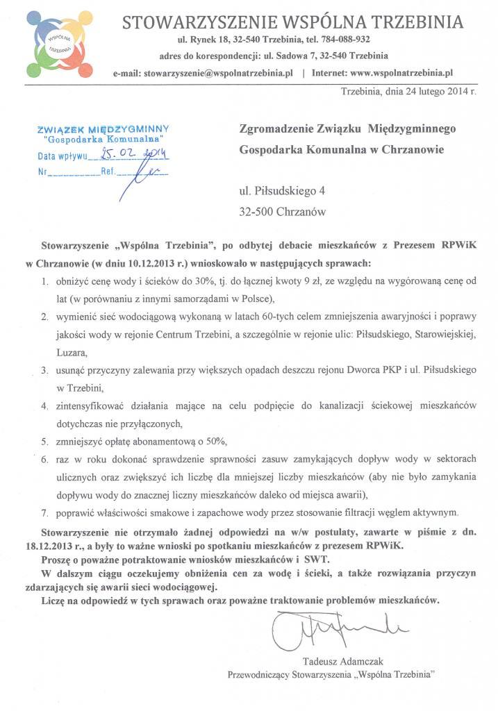 Pismo do ZMGK - ponowne wnioski po debacie wodnej