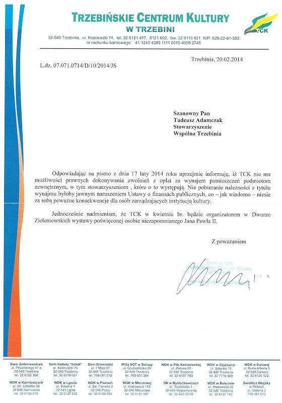 Odpowiedź Dyrektora TCK nt. wynajmu sali w Dworze