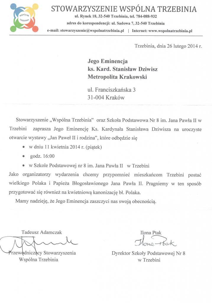 Zaproszenie ks. Kardynała na otwarcie wystawy papieskiej