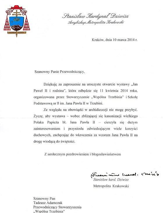 Pismo Kadrdynała na otwarcie wystawy papieskiej
