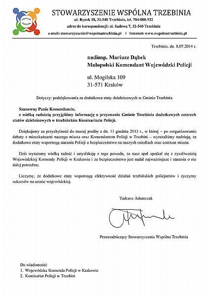 Pismo nt. podziękowania dla Komendy Policji za etaty