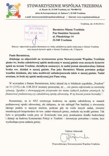 Odpowiedź na pismo Burmistrza ws. opieki medycznej w Trzebini