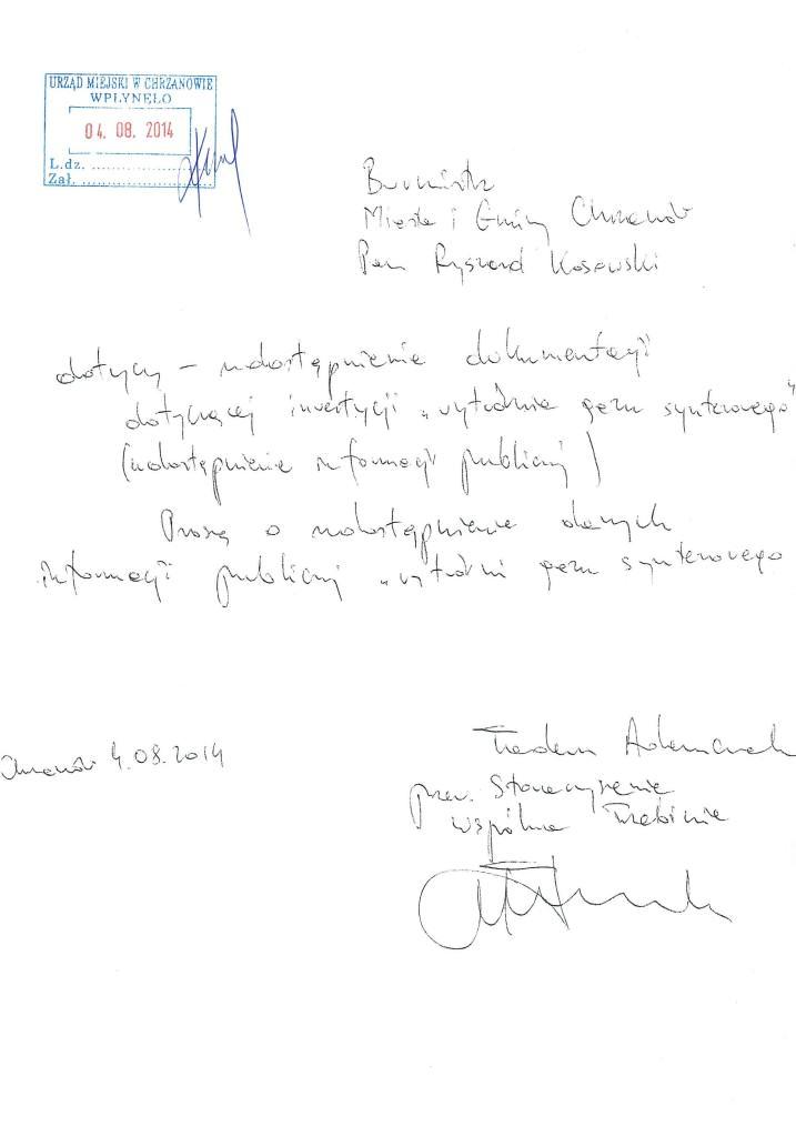 Pismo o udostępnie inf. publicznej  04.08.2014