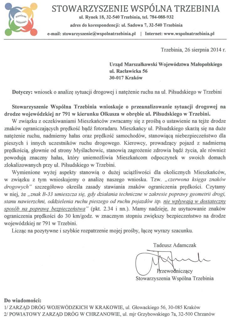 Pismo ws. natężenia ruchu na ul. Piłsudskiego w Trzebini