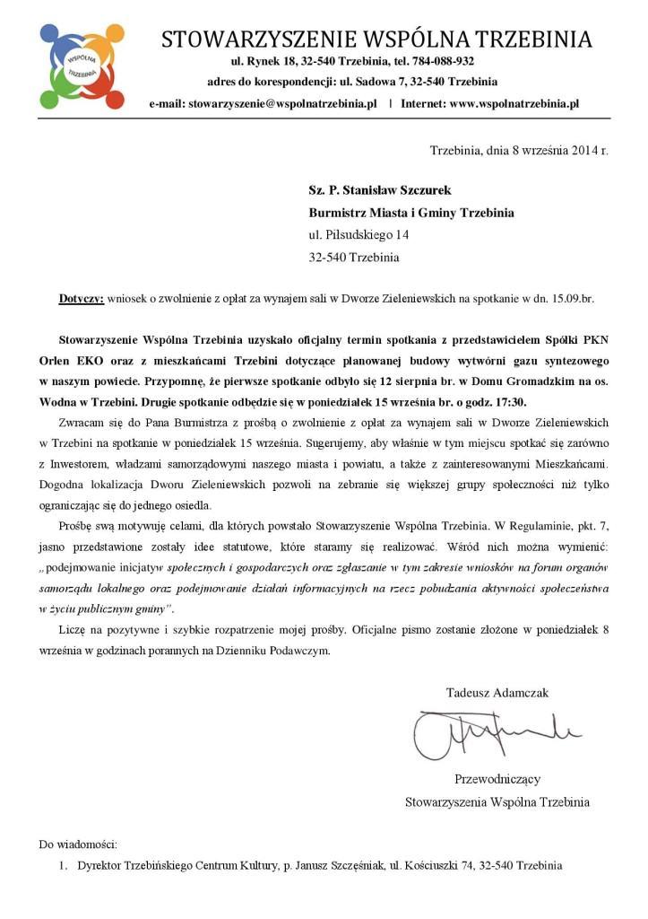Pismo o zwolnienie z opłat za wynajem DZ 15.09.2014