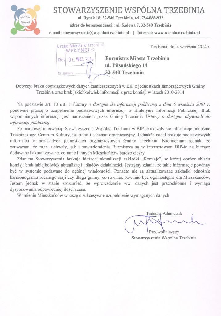 Pismo ws. braków w BIP-ie IX 2014