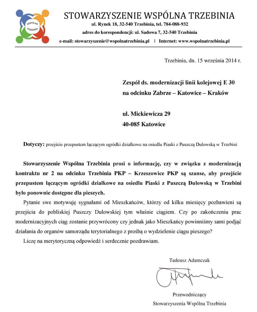 Pismo ws. ciągu pod torami PKP