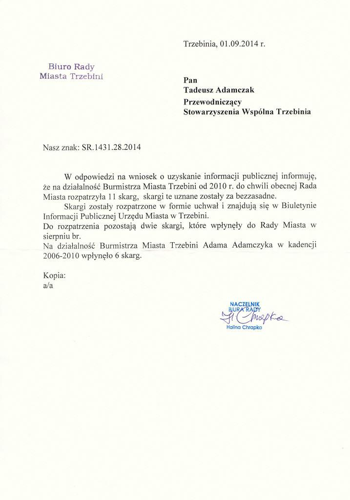 Skargi na Burmistrza Trzebini