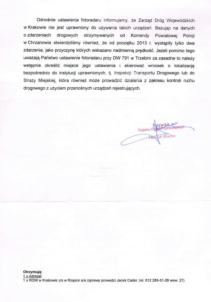 Odp. ws. ruchu na ul. Piłsudskiego 2