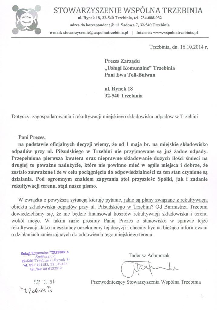 Pismo ws. rekultywacji_UK