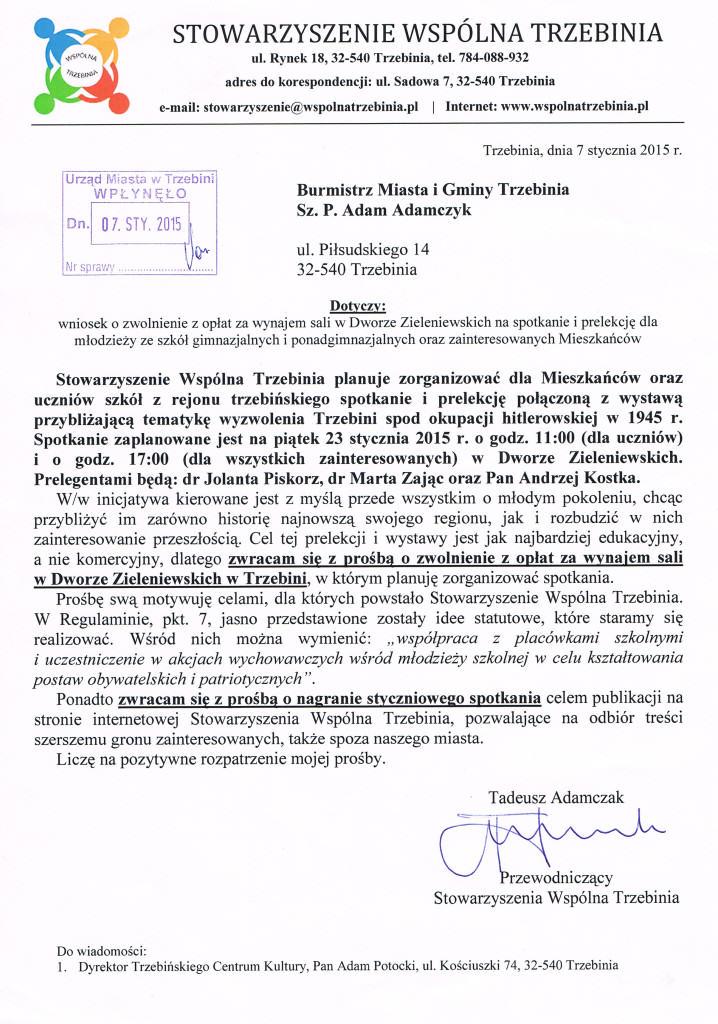 pismo o zwolnienie z oplat 2015